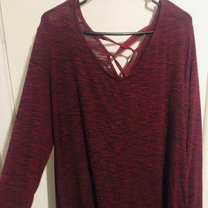 Long sleeve Maroon Dress w/ Lace Up Back